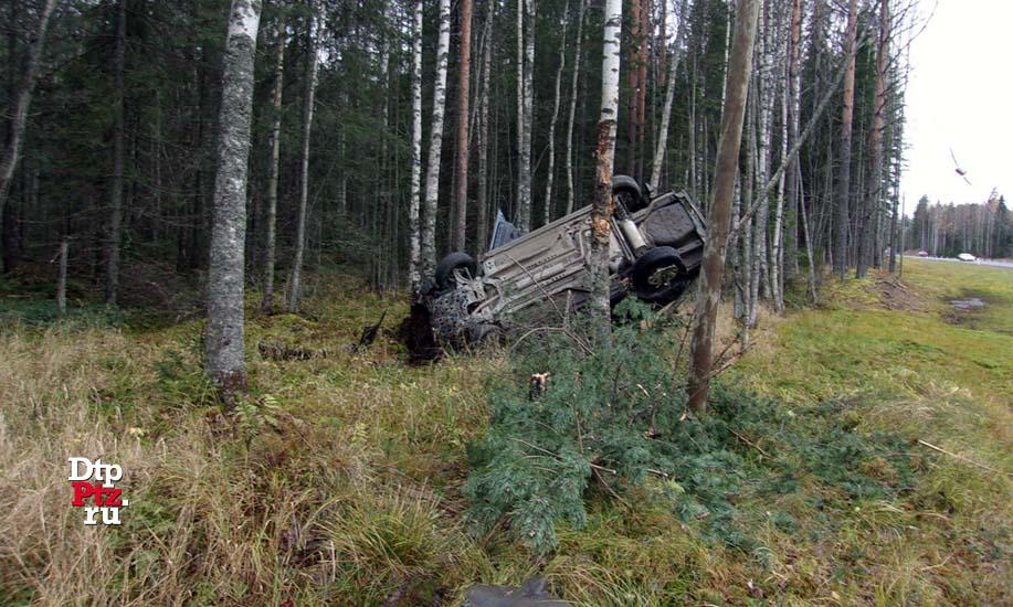 Автомобиль перевернулся изастрял вдеревьях после съезда вкювет